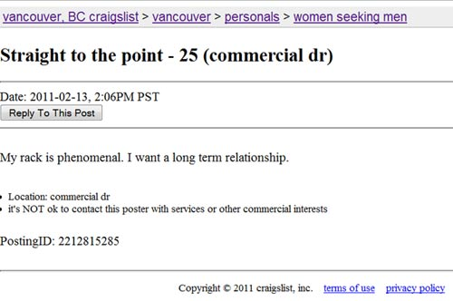 Craigslist men seeking women to fist