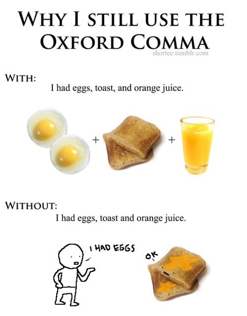 Image result for oxford comma toast and orange juice