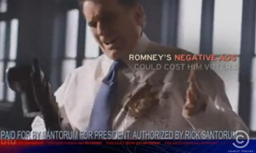 Romney gets Santorum on his shirt