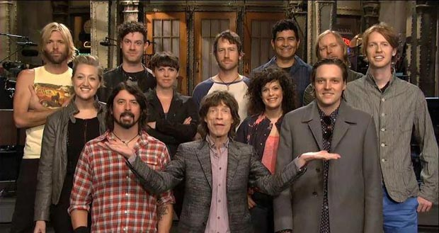 Mick Jagger with Arcade Fire and Foo Fighters on SNL