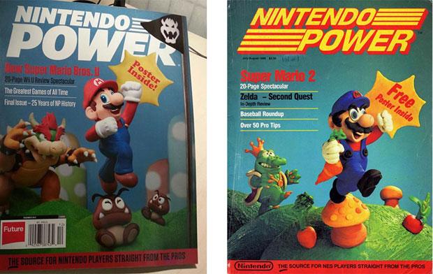Left: final issue of Nintendo Power (2012) - Right: first issue of Nintendo Power (1988)