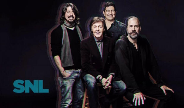 Dave Grohl, Paul McCartney, Pat Smear, and Krist Novoselic