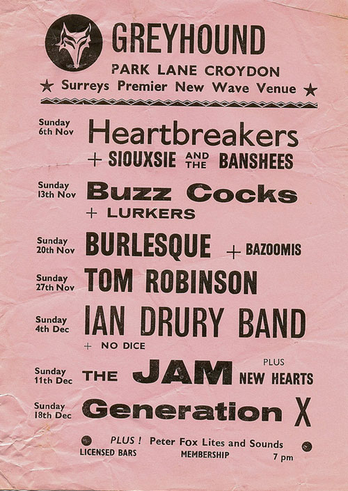 Heartbreakers, Buzzcocks, The Jam, Siouxsie Sioux and the Banshees, 1977