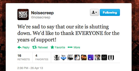 Noisecreep shutting down