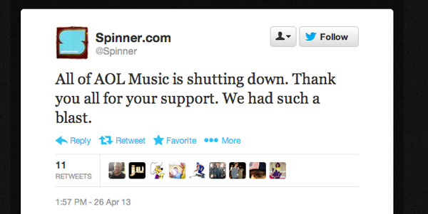 AOL Music closes, shutting down Spinner and Noisecreep