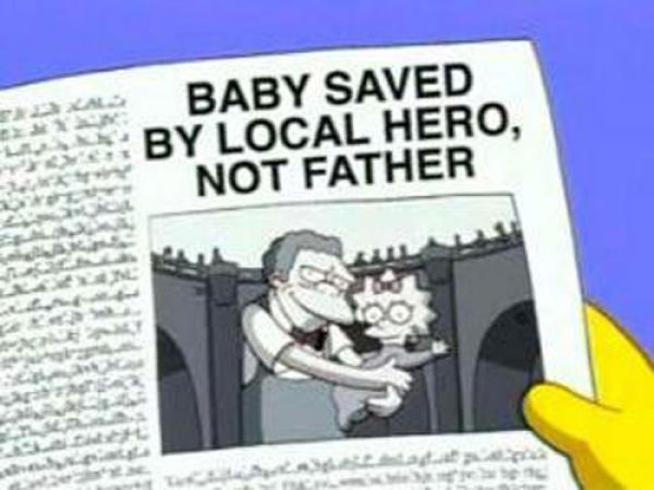 "BABY SAVED BY LOCAL HERO, NOT FATHER, from ""Moe Baby Blues,"" season 14"