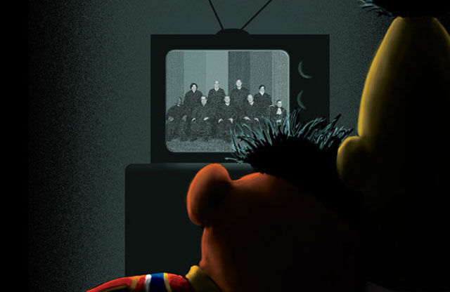 "Bert & Ernie on the cover of ""The New Yorker"""