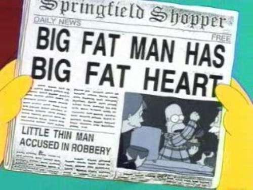 """BIG FAT MAN HAS BIG FAT HEART, from """"Homer Loves Flanders,"""" season 5"""