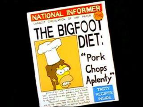 "THE BIGFOOT DIET: ""PORK CHOPS APLENTY"" from ""Call of The Simpsons,"" season 1"