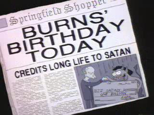 "BURNS' BIRTHDAY TODAY, from ""Rosebud,"" season 5"
