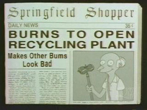 "BURNS TO OPEN RECYCLING PLANT, from ""The Old Man and the Lisa,"" season 8"