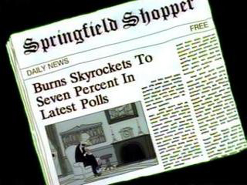"""BURNS SKYROCKETS TO SEVEN PERCENT IN LATEST POLLS, from """"Two Cars in Every Garage and Three Eyes on Every Fish,"""" season 2"""
