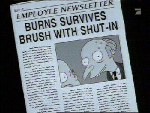 """BURNS SURVIVES BRUSH WITH SHUT-IN, from """"King-Size Homer,"""" season 7"""