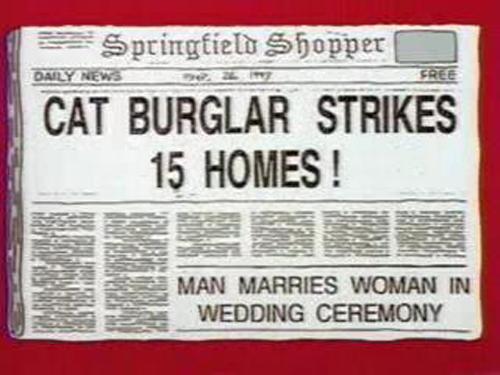 "CAT BURGLAR STRIKES 15 HOMES!, from ""Homer The Vigilante,"" season 5"