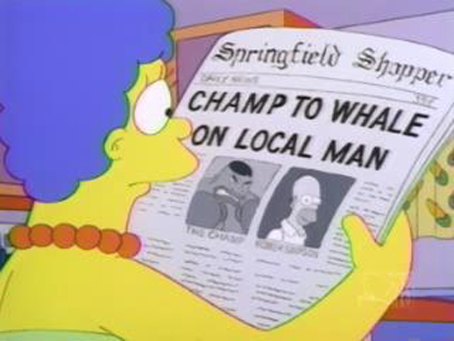 """CHAMP TO WHALE ON LOCAL MAN, from """"The Homer They Fall,"""" season 8"""