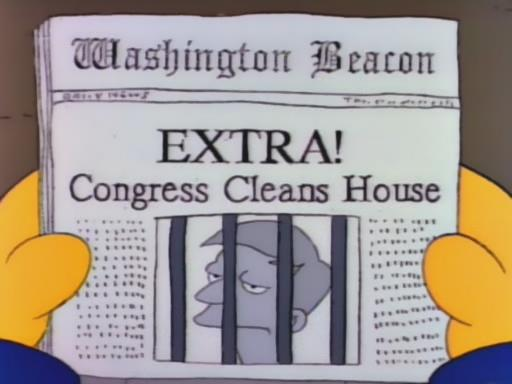"""EXTRA! CONGRESS CLEANS HOUSE, from """"Mr. Lisa Goes to Washington,"""" season 3"""