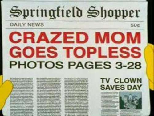 """CRAZED MOM GOES TOPLESS, from """"Large Marge,"""" season 14"""