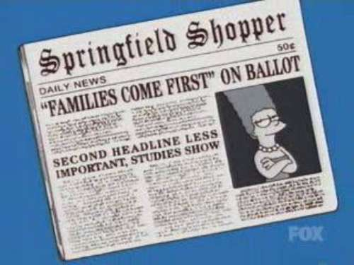 """""""FAMILIES COME FIRST"""" ON BALLOT, from """"Marge vs. Singles, Seniors, Childless Couples and Teens, and Gays,"""" season 15"""