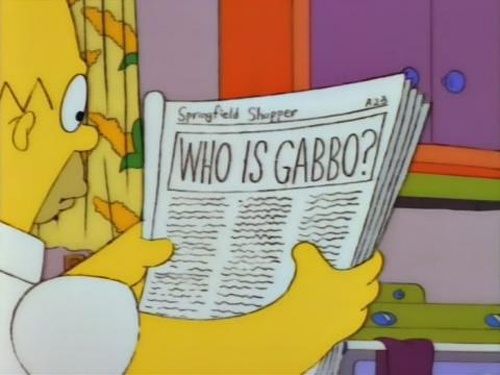 """WHO IS GABBO? from """"Krusty Gets Kancelled,"""" season 4"""