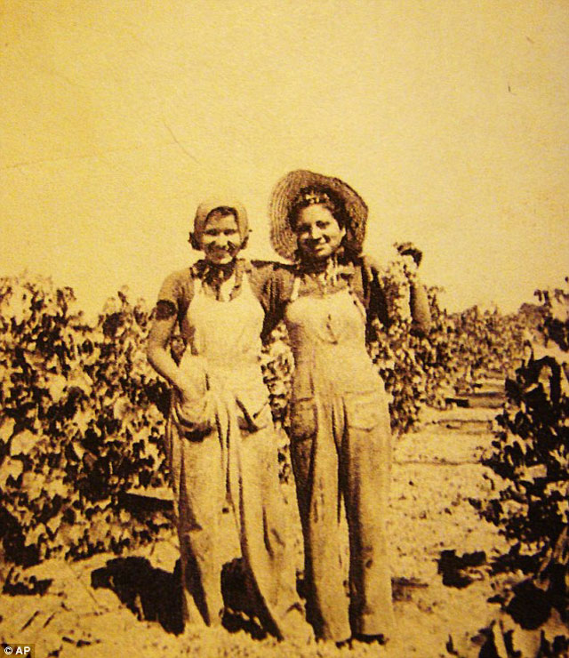 This photo from 1947 and provided by writer Tim Z. Hernandez on behalf of the Bea Kozera Estate shows Beatrice Kozera, left, with friend Angie in Selma, California - in the same year she met Kerouac.