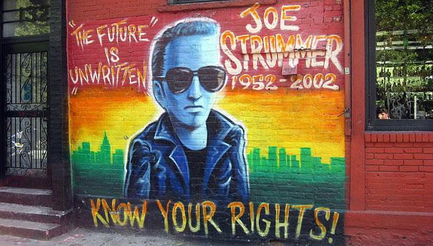 The Joe Strummer memorial mural wall in New York City
