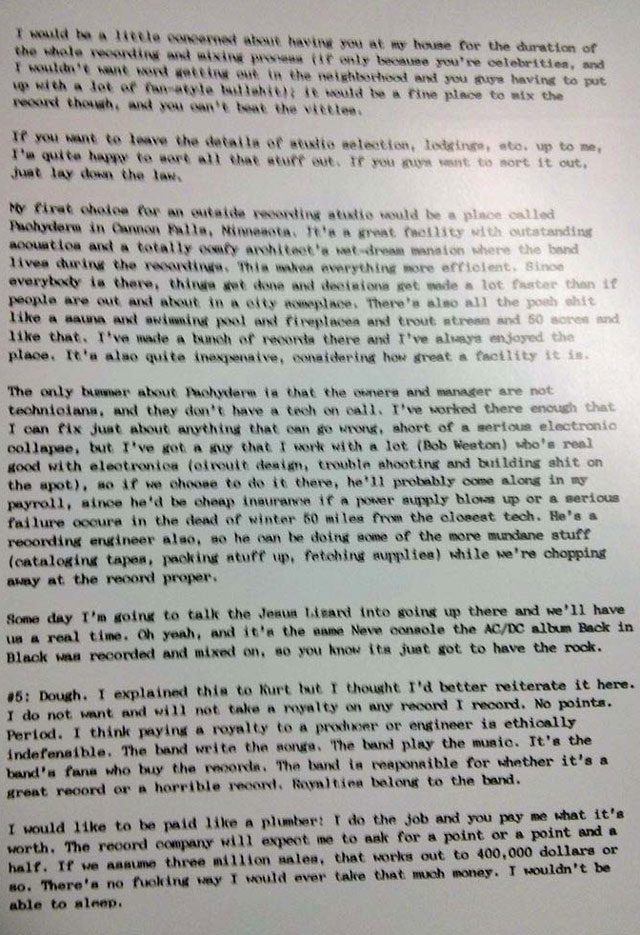 Albini's letter to Nirvana