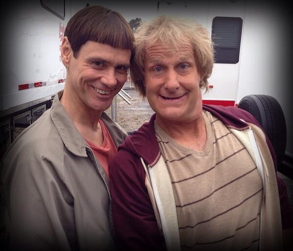 "Jim Carrey and Jeff Daniels on the set of ""Dumb and Dumber To"""