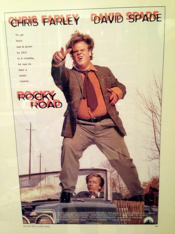 "Movie poster from ""Tommy Boy"" with its original title, ""Rocky Road"""