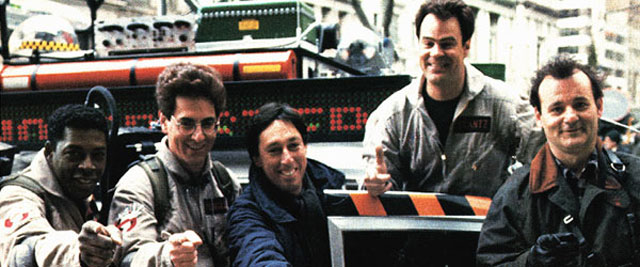 "Ivan Reitman with the cast of ""Ghostbusters"""