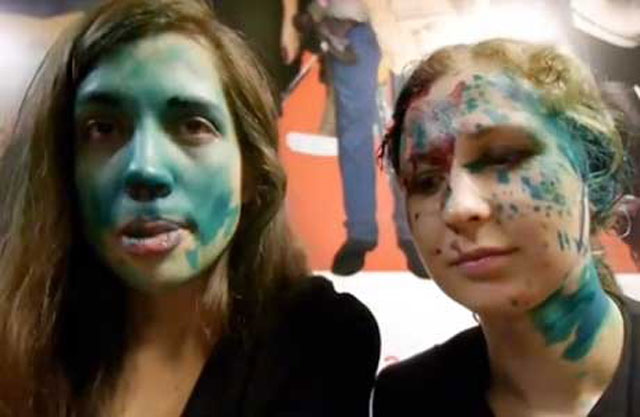 Pussy Riot members after being attacked with paint in a Russian McDonald's restaurant