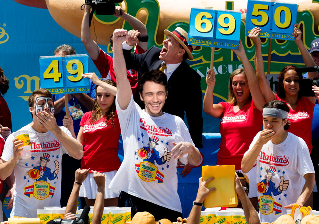 James Franco Wins Nathan's Famous Hot Dog Eating Contest
