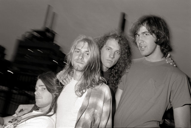 Nirvana in early 1989: Chad Channing, Kurt Cobain, Jason Everman, and Krist Novoselic