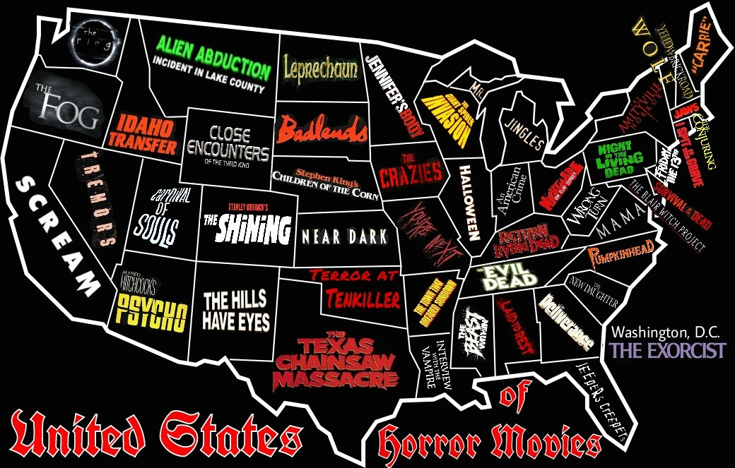 Horror Map Of The United States One Notable Scary Movie From - A map of each sate of us