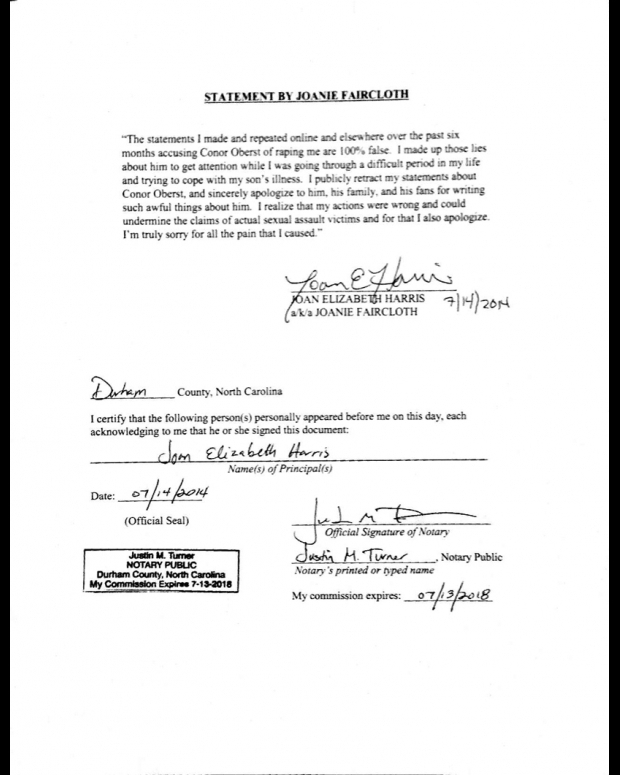 A copy of Joanie Faircloth's signed statement