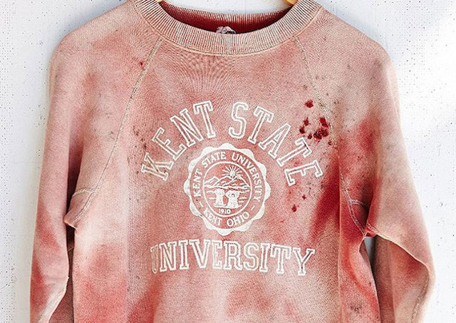 """Vintage"" Kent State University sweatshirt splattered in fake blood - only from Urban Outfitters!"