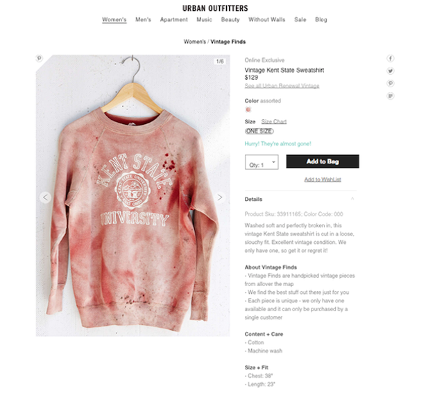 """Vintage"" Kent State University sweatshirt splattered in fake blood from Urban Outfitters"