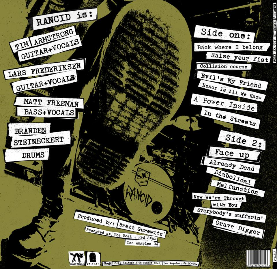 "Rancid ""Honor Is All We Know"" track list"