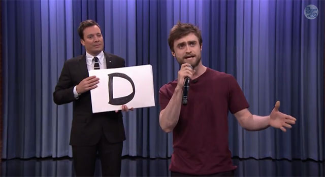 "Daniel Radcliffe rapping on ""The Tonight Show"""