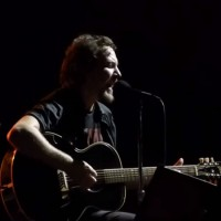 "Eddie Vedder of Pearl Jam performs ""Moline"" on October 17, 2014 in Moline, Illinois"
