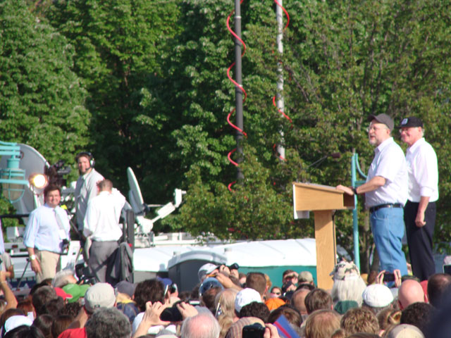 Ben Cohen and Jerry Greenfield of Ben & Jerry's address the crowd
