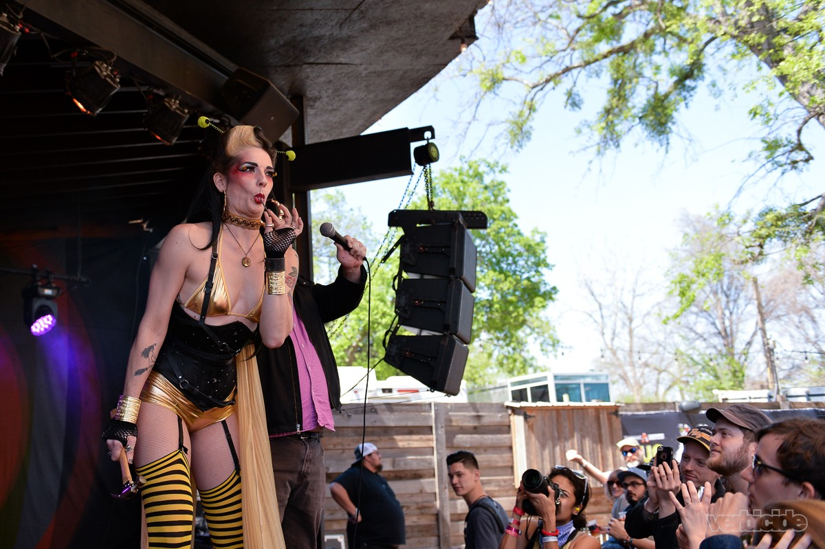 Rainbow Kitten Surprise side show performers at the Scoot Inn 3.14.17