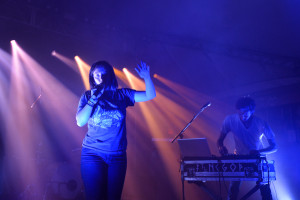 Sylvan Esso performing at the NPR Music SXSW Showcase on 3.15.17